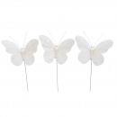 Spring butterfly on wire, 10cm, 3 designs, white,